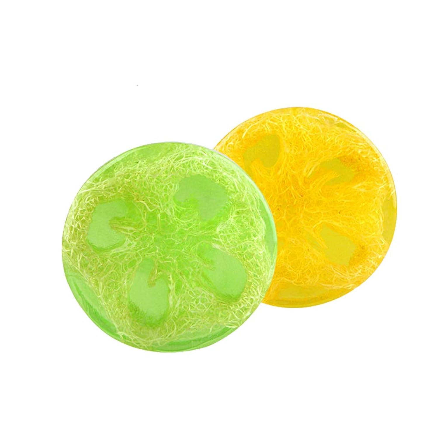 採用するシャワー大事にするLurrose ハンドメイドエッセンシャルオイルソープバーモイスチャライジングボディウォッシュソープ2個(アロエとレモン)