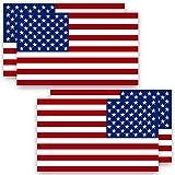 Anley 12,7 x 7,6 cm, 4 unidades (2 hacia adelante y 2 hacia atrás) – Pegatinas de bandera de Estados Unidos con diseño de estrellas patrióticas y bandera de EE. UU. – 4 unidades
