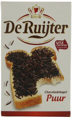 Deruyter Chocoadehagel Puur (Dark Chocolate Sprinkles), 14-Ounces Boxes (Pack of 3)
