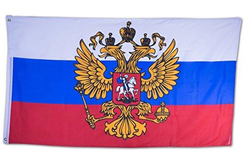 SCAMODA Bundes- und Länderflagge aus wetterfestem Material mit Metallösen (Russland Wappen) 150x90cm