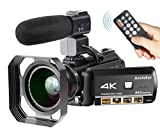 4K Camcorder, Ansteker Ultra-HD 1080P 24MP 30FPS Digital WiFi Video...