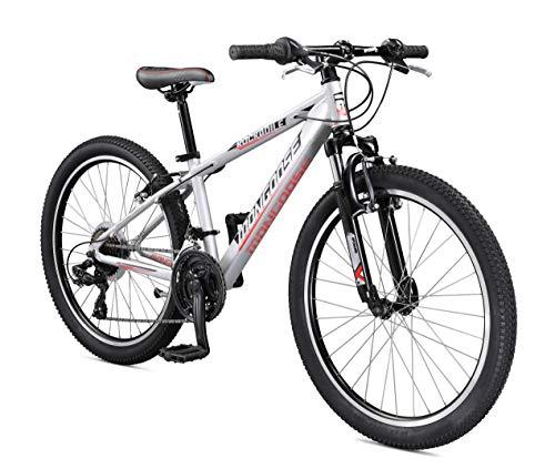 Mongoose Rockadile Kids Hardtail Mountain Bike, 24-Inch Wheels, Silver