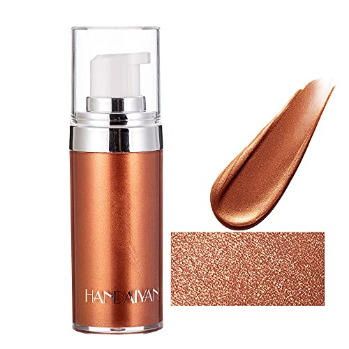Liquid Highlighter Body Makeup, Shimmer Body Oil, Waterproof & Long Lasting, Smooth Shimmer Glow Liquid Foundation for Face & Body (Golden Brown)