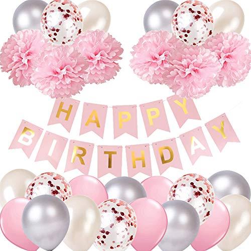 Juego de decoración de cumpleaños para niña, color rosa y plateado, guirnalda con pompones, papel y confeti de color rosa para fiestas de cumpleaños