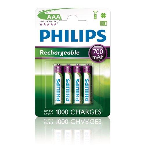 4 x Philips Wiederaufladbare AAA-Akkus, 700 mAh, ideal für Gigaset Schnurlose Telefone