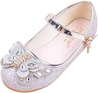 通用 HB Girls Princess Ballet Shoes Plat Glitter Bowknot for Dress Pretty Girl