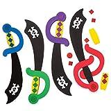 Baker Ross- Kits de espadas de pirata para decorar (Pack de 4) - Accesorios infantiles para disfraces -perfecto para premios, regalos o en fiestas pirata de cumpleaños