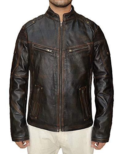 Echtes Biker-Lederjacke für Herren – Lammfell Motorrad Herren Lederjacken Gr. L, Braun - Distressed Classic Jacke
