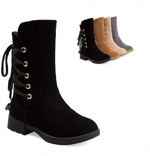ZHRUI Stiefel para damen - Nubucks de tacón Medio Cálidas Stiefel de   Media Stiefel de tacón bajo con Cordones   35-43 (Farbe   schwarz, tamaño   37)