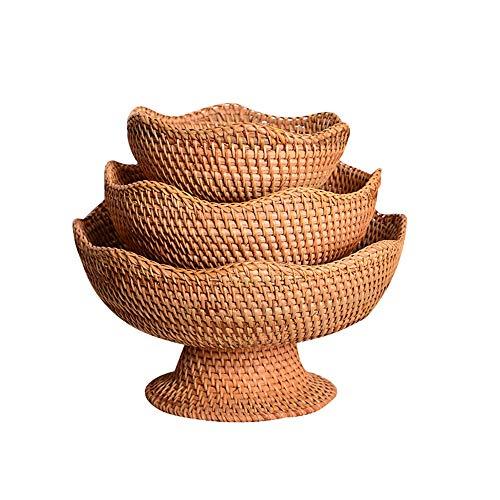 OUY Rattan Fruit Basket Fruit Display Storage Basket Tabletop Food Bread Candy Snacks Plate Storage Woven Storage Basket (Color : Natural, Size : S+M+L)