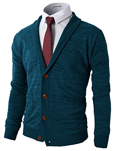 H2H Mens Button Down V-Neck Wool Cardigan with Ribbing Edge Green US L/Asia XL (CMOCAL07)