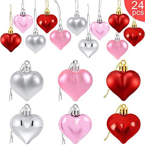 Cotek 24Pcs Decoraciones Colgantes de Adornos de CorazóN de San ValentíN, Adornos en Forma de CorazóN de Plata Rosa Roja Decoraciones Colgantes de San ValentíN