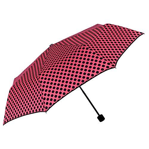 Paraguas Plegable Rojo con Lunares Negros Mujer Antiviento - Paraguas Compacto Colores Brillantes Dots - Resistente de Fibra de Vidrio - Manual - PFC Free - Diametro 96 cm - Perletti Chic (Fucsia)