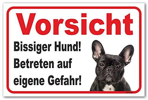 AdriLeo Schild - Vorsicht Schwarze französische Bulldogge - Bissiger Hund - (20x30cm) / Achtung Wachhund