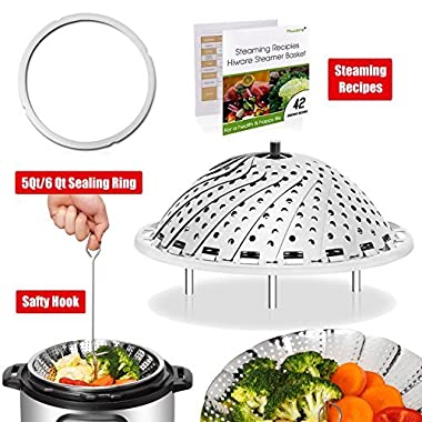 [IP BUNDLE] Vegetable Steamer Basket For Instant Pot Accessories - 100% Stainless Steel Folding Steamer Insert With Sealing Ring For 6qt Instant Pot/Safety Hook/42 Healthy Recipes