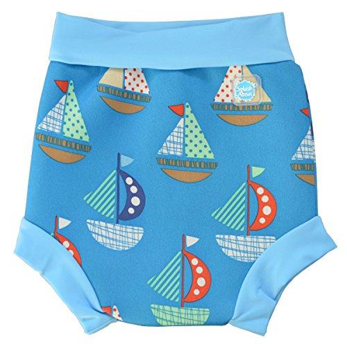Splash About Baby Happy Nappy Wiederverwendbar Schwimmwindel, Blau (Segel), Gr. Large (Herstellergröße: 6-14 Months)