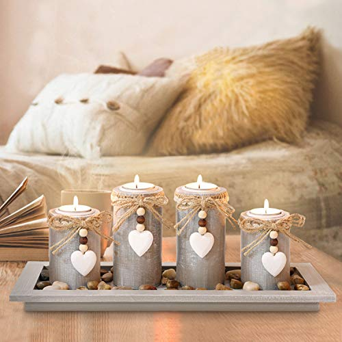 GoMaihe Candle Holder Set of 4 with Wodden Tray, Tealight Holders Vintage Candlestick Holder, Table Centrepiece Home Decor Living Room Bedroom Decoration Wedding Birthday Christmas Party Ornaments