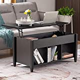 Bonnlo Lift Top Coffee Table with Storage Shelf w/Hidden Compartment and 3 Lower Open Shelves for Living Room,Black