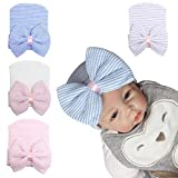 Newborn Baby Girls Cups Hospital Hats Cotton Soft and So Cute with Bow (4 Pack)