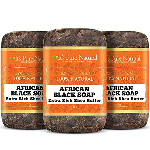 It's Pure Natural African Black Soap Bars with Shea Butter (Pack of 3) | Organic Raw Soap for Face & Body | Moisturizing, Hydrating & Cleansing Bars for Acne, Psoriasis, Spot Treatment, Eczema