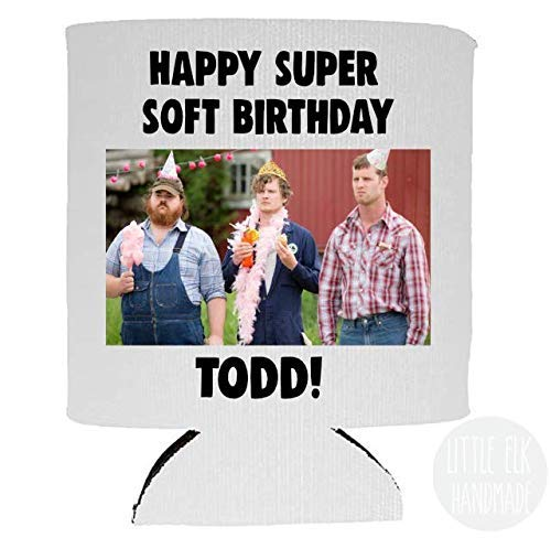 Personalized Letterkenny Have A Happy Super Soft Birthday *Custom Name Text*- Foldable Collapsible Can Cooler Beverage Insulator White For 12 Oz Cans