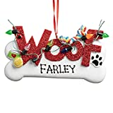 Personalized Planet Decorated Woof Dog Bone Christmas Tree Ornament with Custom Pet Name Hand Painted on Decoration and Detailed with a Tennis Ball, Lights and Paw Print| Ready to Hang