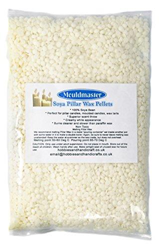 Mouldmaster Gips-Pulver Soja Stumpenkerze Wachs Pellets 500g, Creme/aus weiß