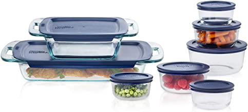 Pyrex Easy Grab Glass Bake 'N Store Glass Food Containers with Blue BPA Free Plastic (16-piece set)