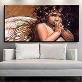 N / A Xdr349 Pintura al óleo pequeño ángel Blanco Mujer Interior Dormitorio Pasillo Sala de Estar café Impresiones del Arte 60x120 CM SIN Marco