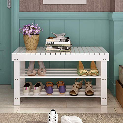 HLL Estante de zapatos de madera maciza para el hogar Estante de zapatos simple a prueba de polvo Gabinete de zapatos simple moderno Banco de zapatos de porche de múltiples capas blanco,90x29x45cm,90