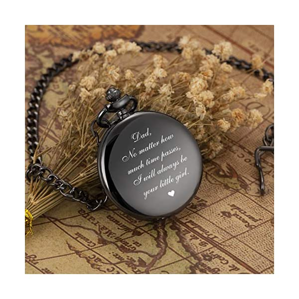 ManChDa Mens Womens Quartz Personalized Pocket Watch Engraved Engraving Customized with Chain Gift Box for Dad Father Papa Uncle Grandpa Grandfather Love