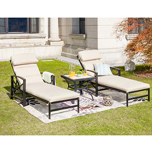 LOKATSE HOME Patio Chaise Lounge Chair Set with Table Outdoor Metal Chairs Furniture, Khaki …