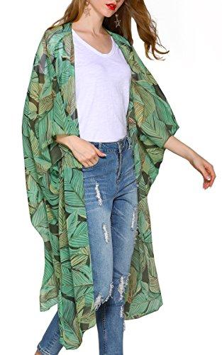 Hibluco Mujer florale Kimono Cardigan Playa Gasa Blusa Tops Bikini Cover Up K10 L
