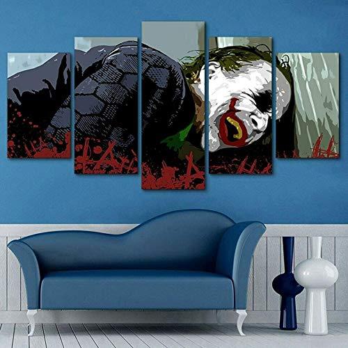 JJJKK canvas wall art | Non-Woven Canvas | JokerBatman Harley Quinn | Photo 5 Pieces | Wall Picture | Multi Panel Modern Large Artwork for Living Room Bedroom