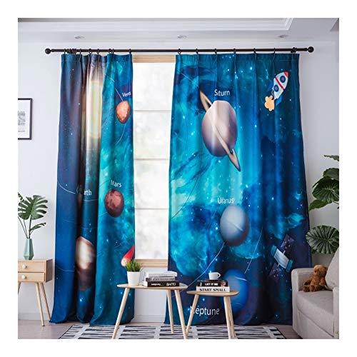 DHDHWL Vorhang 3D Printed Planet Stern Blackout Vorhänge for Wohnzimmer Nette Vorhänge for Jungen-Raum-Kind-Fenster (Zwei Stück) #K (Processing : Grommet Top, Size : W100cmxL270cm)