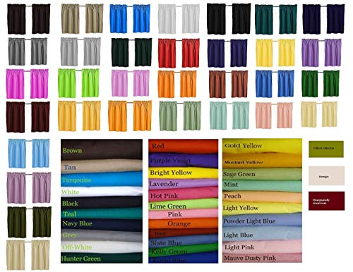 """Blackout Solid Color Curtains, Cafe style, 32 colors, Block Out Light, Thermal, Campers, RV, Daycare schools, bathrooms, Kitchen, small windows, Basement, Tiers, Custom Size, 24"""" or 30"""" Long. custom"""