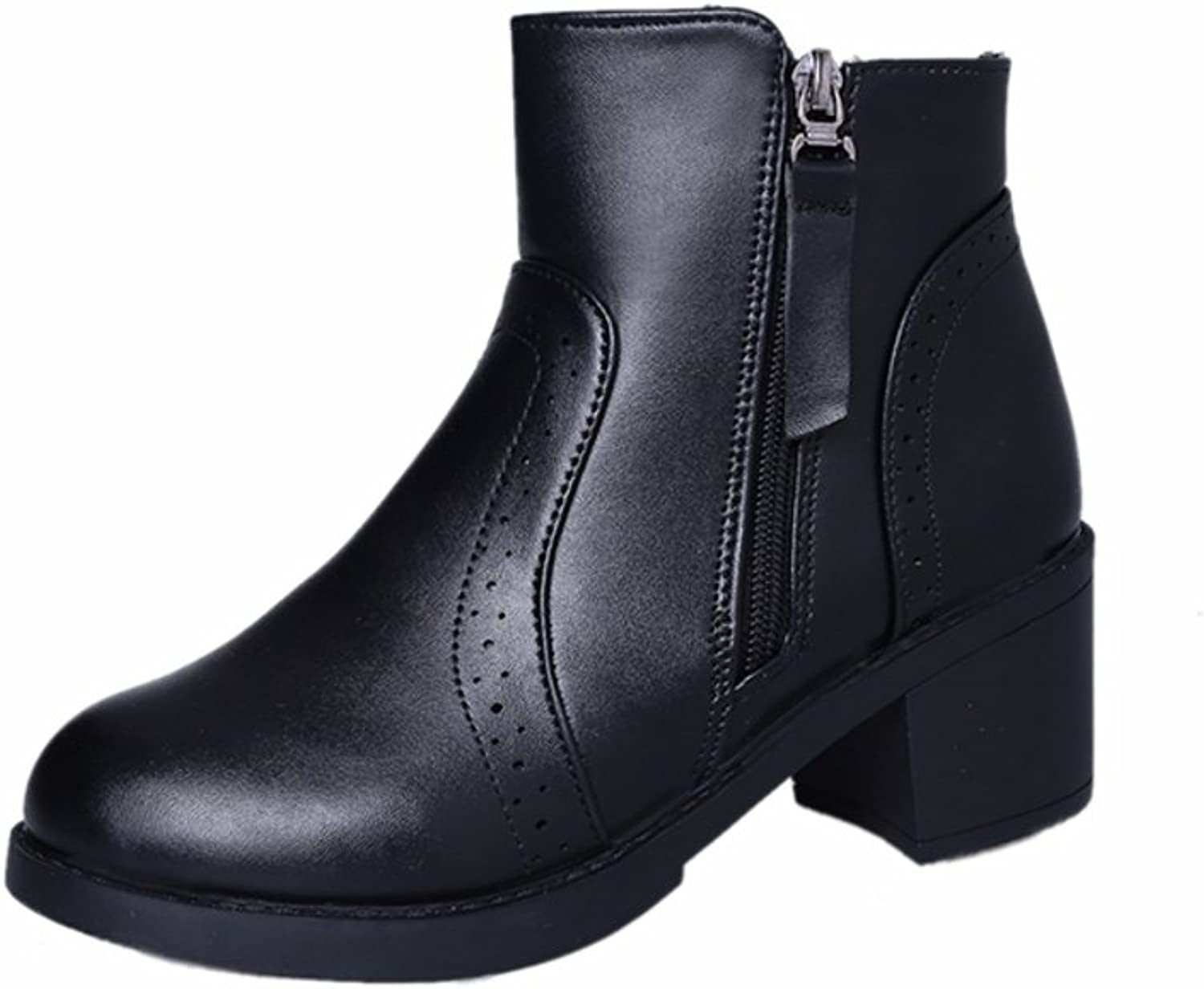 Wind of England in autumn and winter boots Martin boots Brock coarse high boots added velvet and bare boots boots Womens boots