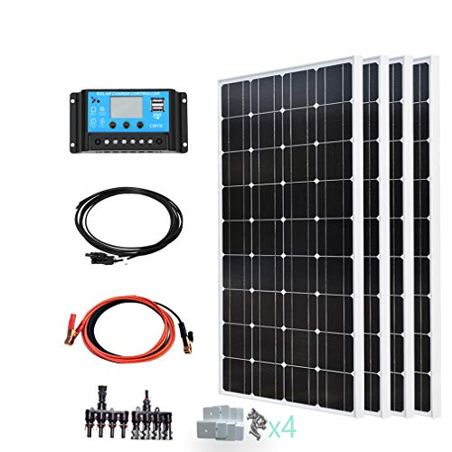 YUANFENGPOWER 400 Watt 12 V Solarpanel Kit: 4 Stück 100 W 18 V Solarmodule monokristallin + 40 A 12 V / 24 V Auto Solarregler für Wohnmobile Dachhaus 12 V Batterieladegerät