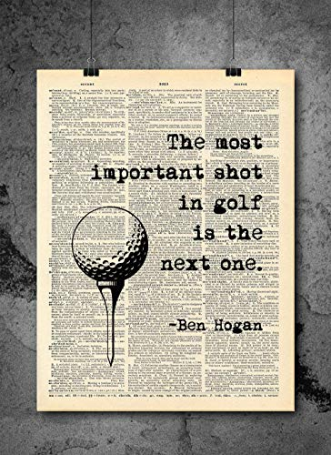Ben Hogan Golf Quote - Dictionary Art Print - Vintage Dictionary Art Decor Home Vintage Art Abstract Prints Wall Art for Home Decor Wall Decorations - Print Only