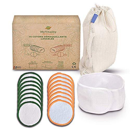 Coton démaquillant Lavable Réutilisable (16 Pcs) MYVITALITY - Démaquille en douceur, Economique & Ecologique. BONUS : Bandeau + Pochette + Filet Lavage