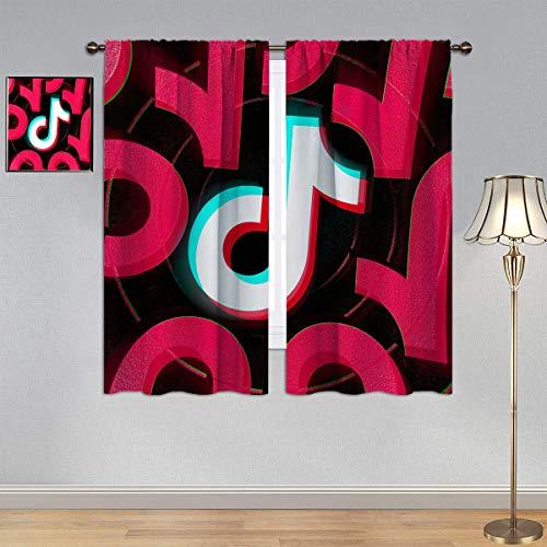 Trelemek Black Out Cortina T_IK T_ok, cortina de ventana con logotipo de redes sociales, tela para dormitorio, sala de estar, 100 x 150 cm