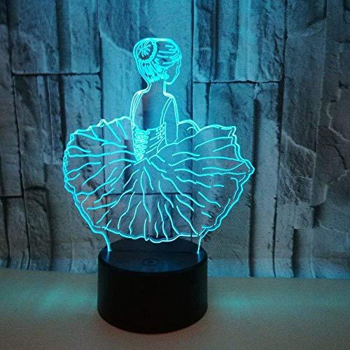 nakw88 Lámpara Escritorio Chica de Ballet luz LED Degradado Colorido 3D estéreo táctil Control Remoto USB luz de Noche Junto a la Cama decoración Creativa Escritorio Cumplea 20 * 13 c