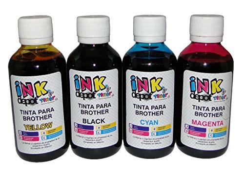 Juego de 4 Tintas marca INK Depot Tipo INOBELLA Compatible con cualquier multifuncional BROTHER para...