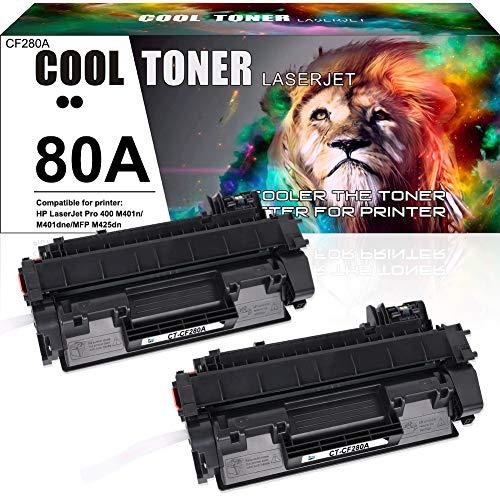 Cool Toner Compatible Toner Cartridge Replacement for HP 80A CF280A 80X CF280X for HP Laserjet Pro 400 M401A M401D M401N M401DN M401DNE M401DW, Laserjet Pro 400 MFP M425DN Laser Ink Printer Black-2PK
