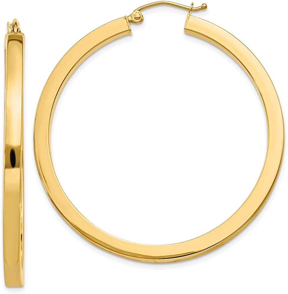 Max 88% OFF Earrings 14K Yellow Gold Hoop Women'S 45 mm 3Mm Square Ranking TOP14 Polished