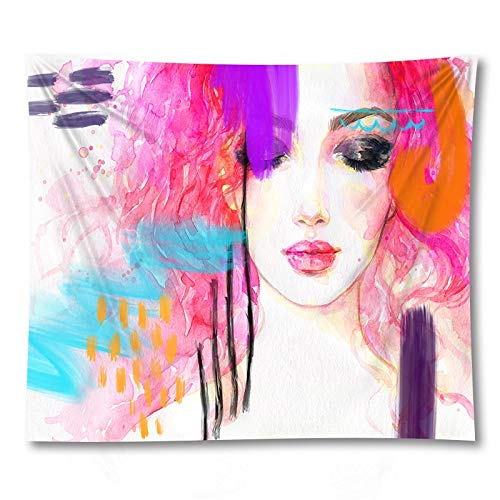 WERT Modern girl tapestry living room bedroom bedside decoration home decoration background cloth tapestry A9 73x95cm