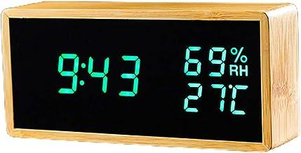 Dsxnklnd Relógio de mesa de madeira com controle de voz, despertador de temperatura e umidade eletrônica, visor duplo, rel...
