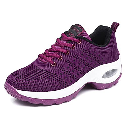 GAXmi Zapatillas Deportivas Mujer Respirable Zapatos Gimnasia Running Antideslizantes Casual Fucsia 39EU