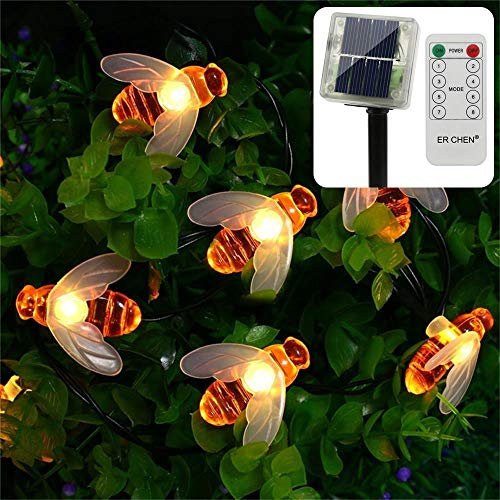 ErChen Solar Powered String Lights, 30 Cute Honeybee Led Lights, 15FT 8 Modes Waterproof Fairy Decorative Light for Outdoor, Garden, Patio, Wedding, Party (Warm White)