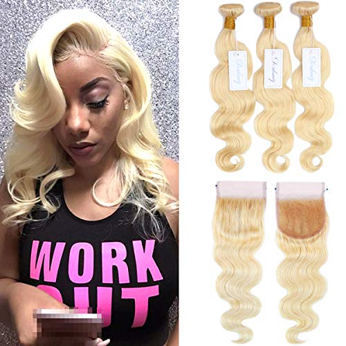Dorabeauty #613 Blonde Human Hair Bundles with Closure 4×4 Swiss Lace Body Wave Brazilian Remy Hair Extensions (10